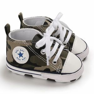 Baby Toddler Green Camo Lace-up Hightop Prewalkers